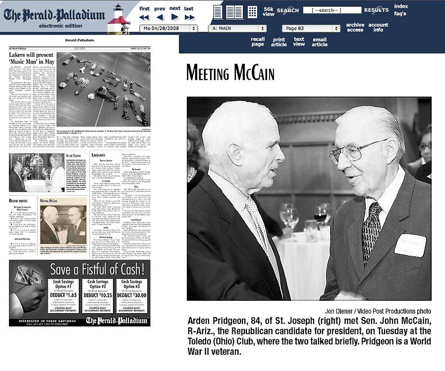 Pridgeon/McCain photo in Herald-Palladium newspaper.