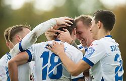 Players of Celje celebrate after Elvir Ibisevic scored second goal for Celje during football match between NK Triglav and NK Celje in Round #14 of Prva liga Telekom Slovenije 2018/19, on October 27, 2018, in Sports centre Kranj, Slovenia. Photo by Vid Ponikvar / Sportida
