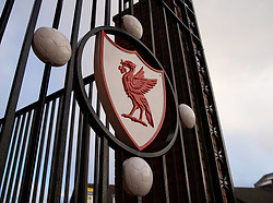 LIVERPOOL, ENGLAND - Wednesday, March 11, 2020: A Liverbird on the Paisley gateway pictured before the UEFA Champions League Round of 16 2nd Leg match between Liverpool FC and Club Atlético de Madrid at Anfield. (Pic by David Rawcliffe/Propaganda)