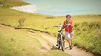 Walking a Bicycle on a Trail. Above the White Cliffs of Dover, England. Image taken with a Leica V-Lux 6 camera (ISO 100, 17.7 mm, f/2.8, 1/1600 sec). Semester at Sea Spring 2013 Enrichment Voyage.