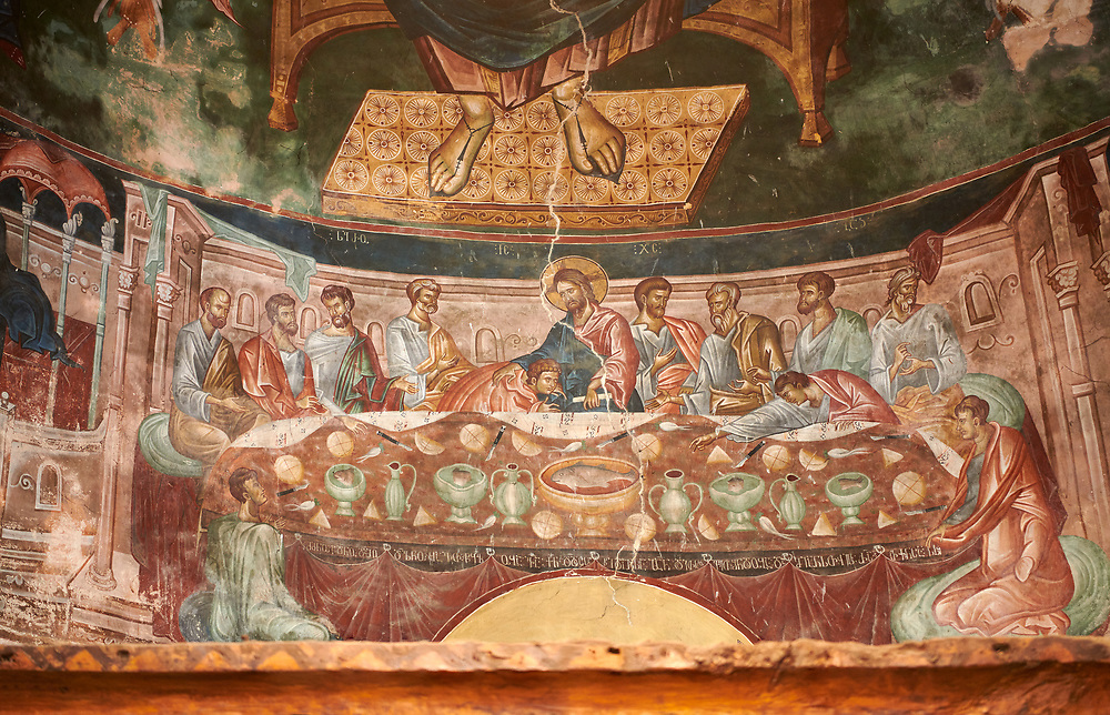 Pictures & images of the interior frescoes of the Last Supper, Ubisa St. George Georgian Orthodox medieval monastery, Georgia (country)<br /> <br /> The 14th century lavish interior frescoes were painted by Gerasim in a local style known as Palaeologus  following Byzantine influences. .<br /> <br /> Visit our MEDIEVAL PHOTO COLLECTIONS for more   photos  to download or buy as prints https://funkystock.photoshelter.com/gallery-collection/Medieval-Middle-Ages-Historic-Places-Arcaeological-Sites-Pictures-Images-of/C0000B5ZA54_WD0s<br /> <br /> Visit our REPUBLIC of GEORGIA HISTORIC PLACES PHOTO COLLECTIONS for more photos to browse, download or buy as wall art prints https://funkystock.photoshelter.com/gallery-collection/Pictures-Images-of-Georgia-Country-Historic-Landmark-Places-Museum-Antiquities/C0000c1oD9eVkh9c .<br /> <br /> Visit our MEDIEVAL PHOTO COLLECTIONS for more   photos  to download or buy as prints https://funkystock.photoshelter.com/gallery-collection/Medieval-Middle-Ages-Historic-Places-Arcaeological-Sites-Pictures-Images-of/C0000B5ZA54_WD0s<br /> <br /> Visit our REPUBLIC of GEORGIA HISTORIC PLACES PHOTO COLLECTIONS for more photos to browse, download or buy as wall art prints https://funkystock.photoshelter.com/gallery-collection/Pictures-Images-of-Georgia-Country-Historic-Landmark-Places-Museum-Antiquities/C0000c1oD9eVkh9c