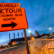 Detour on Broadway in downtown Kansas City as one of the overpasses was removed, May 2011.