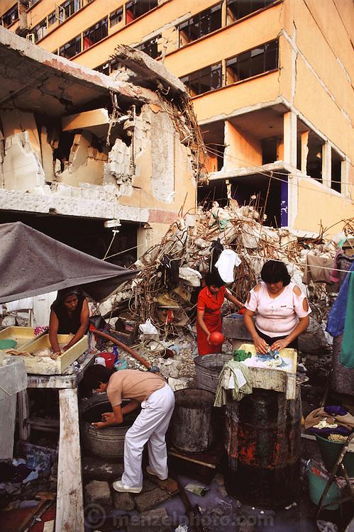 Living in earthquake rubble, near Plaza Garibaldi in Mexico City, Mexico.