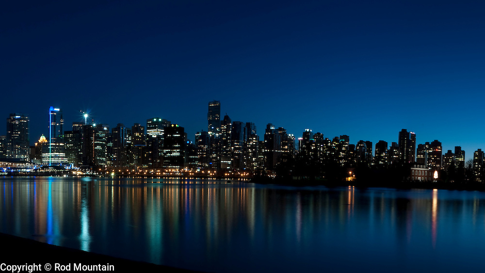 Cityscape of downtown Vancouver, British Columbia taken at sunset.