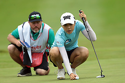 June 16, 2018 - Belmont, Michigan, United States - Lydia Ko of New Zealand lines up her putt on the first green during the third round of the Meijer LPGA Classic golf tournament at Blythefield Country Club in Belmont, MI, USA  Saturday, June 16, 2018. (Credit Image: © Jorge Lemus/NurPhoto via ZUMA Press)