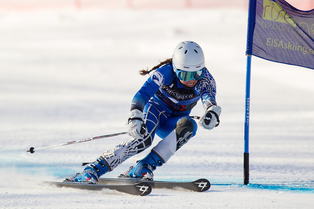 Brittney Ziebell of Colby College, skis during the first run of the women's giant slalom at the Dartmouth Carnival at Dartmouth Skiway on February 7, 2014 in Lyme, NH. (Dustin Satloff/EISA)
