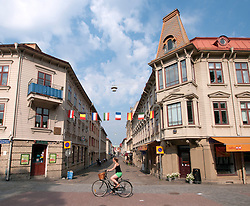 View of old wooden buildings on historic Haga Nygata street in Haga district of Gothenburg Sweden