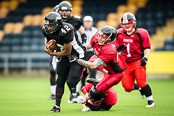 Kent Exiles running back is tackled - Mandatory by-line: Jason Brown/JMP - 27/08/2016 - AMERICAN FOOTBALL - Sixways Stadium - Worcester, England - Kent Exiles v East Kilbride Pirates - BAFA Britbowl Finals Day