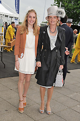 LADY LLOYD WEBBER and her daughter BELLA at the 2012 Investec sponsored Derby at Epsom Racecourse, Epsom, Surrey on 2nd June 2012.