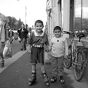 Young boys in Transylvania, Romania. 23rd July 2011. Photo Tim Clayton
