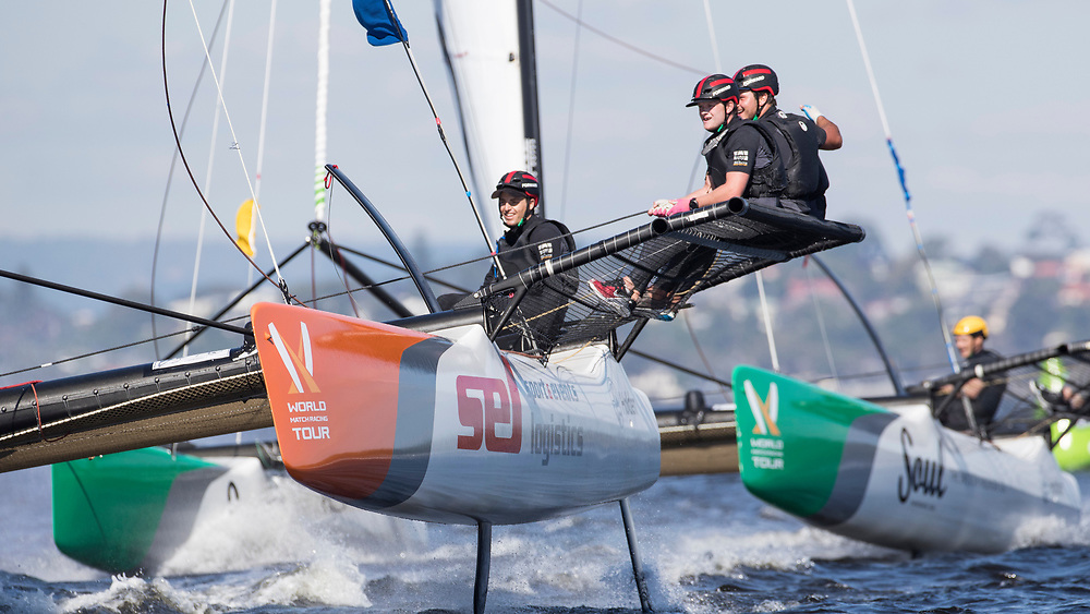 WMRT Match Cup Australia, Royal Freshwater Bay, Perth, WA. 24th March 2017. Torvar Mirsky (left) winner of the quarter final against Yann Guichard, Spindrift Racing.