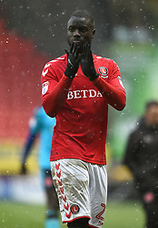 Charlton Athletic's Mouhamadou-Naby Sarr applauds the fans after the final whistle