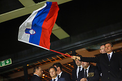 President of Slovenia, Borut Pahor with national flag of Slovenia during the EURO 2016 Qualifier Group E match between Slovenia and Lithuania, on October 9, 2015 in SRC Stozice, Ljubljana Slovenia. Photo by Grega Valancic / Sportida