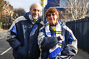 Leeds United fans outside Loftus Road ahead of the The FA Cup match between Queens Park Rangers and Leeds United at the Loftus Road Stadium, London, England on 6 January 2019.