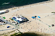 Nederland, Noord-Holland, Amsterdam, 29-06-2018; Blijburg, tijdelijk strand aan de noordzijde van het Haveneiland in IJburg (Amsterdam), eerste fase van het toekomstig Centrumeiland.<br /> Blijburg, temporary beach on the north side of the Haveneiland in IJburg (Amsterdam), first stage of future Center Island.<br /> luchtfoto (toeslag op standard tarieven);<br /> aerial photo (additional fee required);<br /> copyright foto/photo Siebe Swart