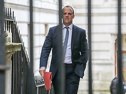 © Licensed to London News Pictures. 29/10/2019. London, UK. Domonic Raab Secretary of State for Foreign Affairs arrives at 10 Downing Street for a Cabinet meeting …. As Boris Johnson tries to get his snap election poll through Parliament again this week. Photo credit: Alex Lentati/LNP
