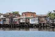Vila dos pescadores favela on the banks of the Casquerio River. Cubatão, Brazil, 2008