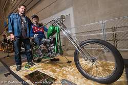 Mr. Nakakura of Stance Motorcycles with Cary Brobeck of Easyriders Magazine after receiving the Born Free Pick, Arie VanSchyndel Pick and Easyriders Magazine Pick for his 1938 Harley-Davidson Knucklehead at the Mooneyes Yokohama Hot Rod & Custom Show. Yokohama, Japan. December 6, 2015.  Photography ©2015 Michael Lichter.