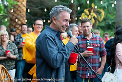 Cory spoke to guests at the home of Kim and Jon Borneman after the Arlen Ness Memorial - Celebration of Life. Pleasanton, CA, USA. Saturday, April 27, 2019. Photography ©2019 Michael Lichter.Gathering at the home of Kim and Jon Borneman after the Arlen Ness Memorial - Celebration of Life. Pleasanton, CA, USA. Saturday, April 27, 2019. Photography ©2019 Michael Lichter.