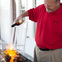 Fred Noe, Master Distiller of Jim Beam, Grilling his Bourbon Pork Loin