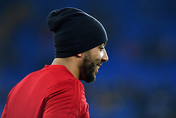 Watford's Troy Deeney warming up before the game during the Premier League match at the Cardiff City Stadium.