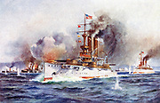 Spanish-American War, 1898. Destruction of the Spanish fleet outside Santiago harbour in Admiral Cevera's desparate attempt by running the American bloackade, 3 July 1898.