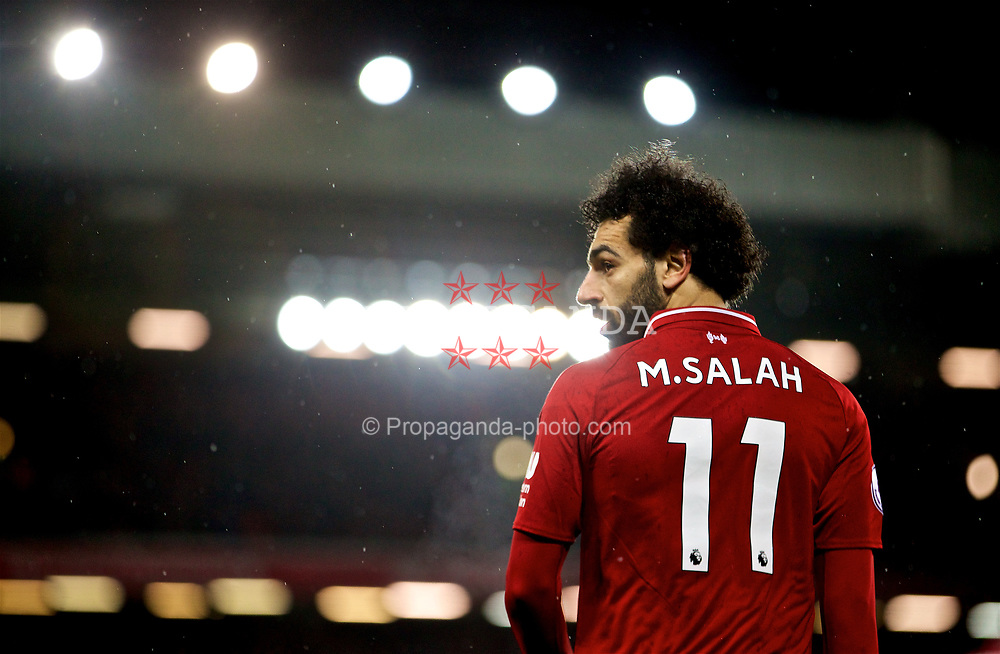 LIVERPOOL, ENGLAND - Sunday, December 16, 2018: Liverpool's Mohamed Salah during the FA Premier League match between Liverpool FC and Manchester United FC at Anfield. (Pic by David Rawcliffe/Propaganda)