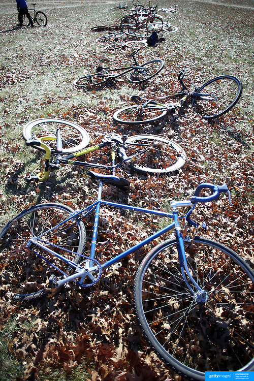 Back up bikes in the autumn leaves during the Cyclo-Cross, Supercross Cup 2013 UCI Weekend at the Anthony Wayne Recreation Area, Stony Point, New York. USA. 24th November 2013. Photo Tim Clayton