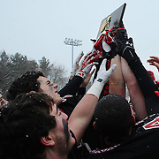 New Canaan Rams players celebrate victory after the New Canaan Rams Vs Darien Blue Wave, CIAC Football Championship Class L Final at Boyle Stadium, Stamford. The New Canaan Rams won the match in snowy conditions 44-12. Stamford,  Connecticut, USA. 14th December 2013. Photo Tim Clayton