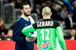 Cyril Dumoulin of France and Vincent Gerard of France during handball match between National teams of Croatia and France on Day 7 in Main Round of Men's EHF EURO 2018, on January 24, 2018 in Arena Zagreb, Zagreb, Croatia.  Photo by Vid Ponikvar / Sportida