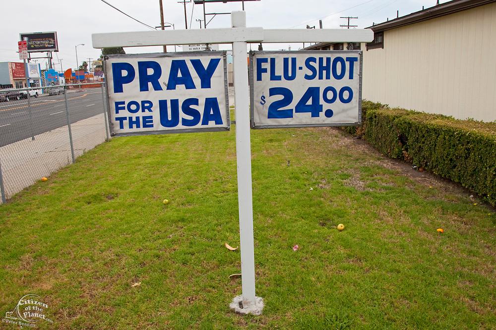 Business sign, Wilmington, California, USA
