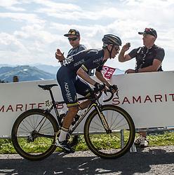 06.07.2017, Kitzbühel, AUT, Ö-Tour, Österreich Radrundfahrt 2017, 4. Etappe von Salzburg auf das Kitzbüheler Horn (82,7 km/BAK), im Bild Stefan Denifl (AUT, Team Aqua Blue Sport) im gelben Trikot // Stefan Denifl of Austria (Aqua Blue Sport) in the yellow jersey during the 4th stage from Salzburg to the Kitzbueheler Horn (82,7 km/BAK) of 2017 Tour of Austria. Kitzbühel, Austria on 2017/07/06. EXPA Pictures © 2017, PhotoCredit: EXPA/ Reinhard Eisenbauer