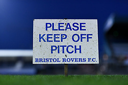 A general view of a Keep Off The Pitch sign at the Memorial Stadium before kick off - Mandatory by-line: Ryan Hiscott/JMP - 03/11/2020 - FOOTBALL - Memorial Stadium - Bristol, England - Bristol Rovers v Peterborough United - Sky Bet League One