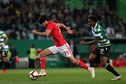 February 3, 2019 - Lisbon, Portugal - Benfica's Portuguese forward Joao Felix (R ) vies with Sporting's midfielder Wendel from Brazil during the Portuguese League football match Sporting CP vs SL Benfica at Alvalade stadium in Lisbon, Portugal on February 3, 2019. (Credit Image: © Pedro Fiuza/NurPhoto via ZUMA Press)