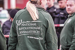 April 25, 2018 - Munich, Bavaria, Germany - ''Nationalist, revolutionary, socialistic''. The militant, extremist neo-nazi group III. Weg (dritter Weg, Third Path) held their yearly memorial for Reinhold Elstner, a neo-nazi who died due to self-immolation in 1995. In attendance was terrorist Karl-Heinz Statzberger, who was convicted for attempting to bomb the Munich Synagogue.  The group holds this ceremony yearly at Max Joseph Platz, in front of the Staatsopera and famed Residenz, who hang banners out in opposition to the group. (Credit Image: © Sachelle Babbar via ZUMA Wire)