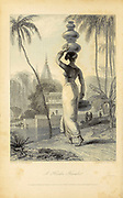 A HINDOO [Hindu] FEMALE. (Frontispiece.) From the book ' The Oriental annual, or, Scenes in India ' by the Rev. Hobart Caunter Published by Edward Bull, London 1834 engravings from drawings by William Daniell