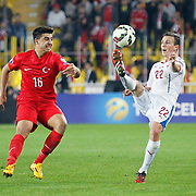 Turkey's Ozan Tufan (L) and Czech Republic's Vladimar Darida(R) during their UEFA Euro 2016 qualification Group A soccer match Turkey betwen Czech Republic at Sukru Saracoglu stadium in Istanbul October 10, 2014. Photo by Aykut AKICI/TURKPIX