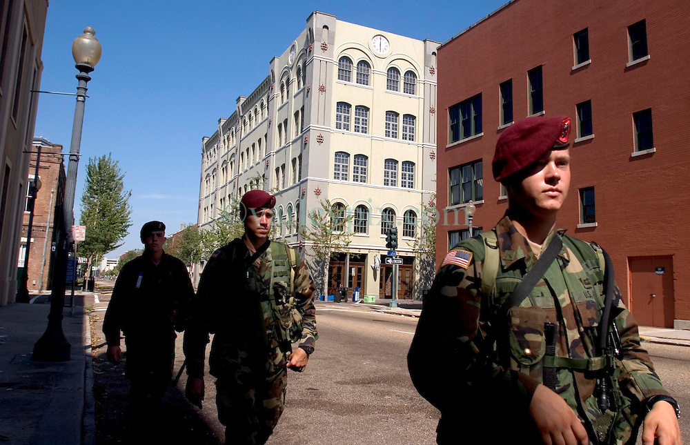 08 Sept 2005. New Orleans, Louisiana.  Hurricane Katrina aftermath.<br /> Members of the 82nd Airborne Regiment patrol the streets of the Central Business District to prevent any further looting and to secure the area.<br /> Photo; ©Charlie Varley/varleypix.com