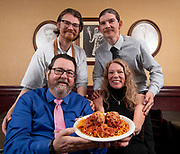 """Clockwise from top left: Matt, Thom, Cathy & Frank Cunetto. Photos at Cunetto's House of Pasta """"On The Hill"""" in south St. Louis taken on Wednesday April 21, 2021 for the Better Business Bureau (St. Louis) Torchlight quarterly magazine. <br />Photo byTim Vizer"""