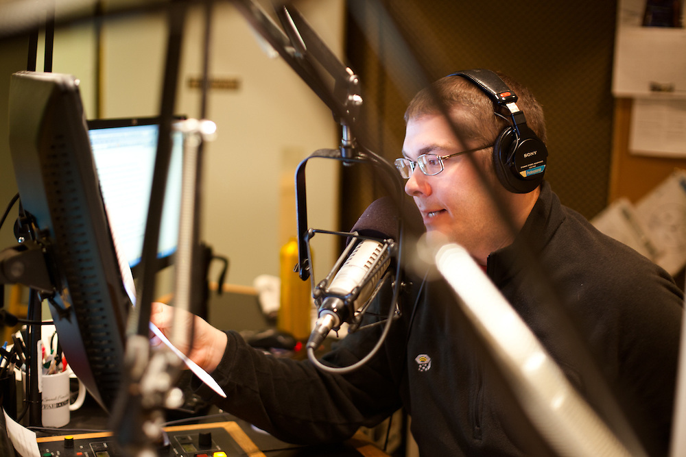 Host of WFAE's Morning Edition, Scott Graf usually enjoys the company of a producer. On this day however, he's a one man show.