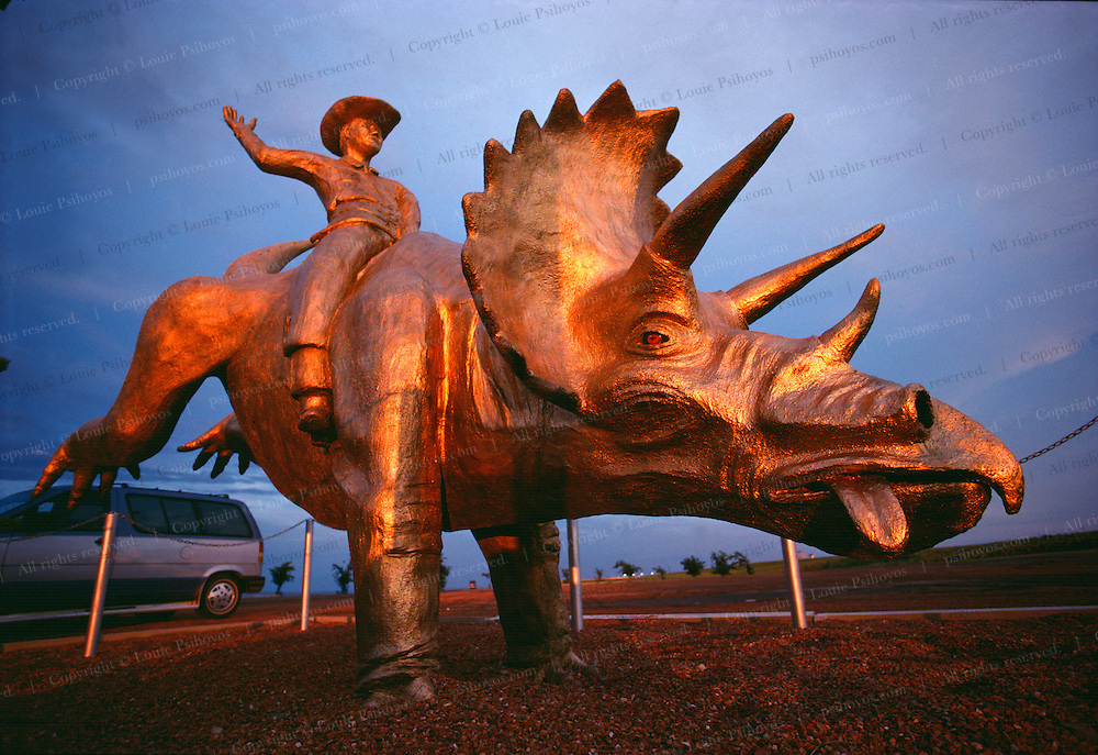 All over the town of Drumheller, Canada dinosaur pop culture abounds, even at the rodeo grounds.