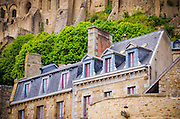 Houses below the abbey, Mont Saint-Michel, Normandy, France