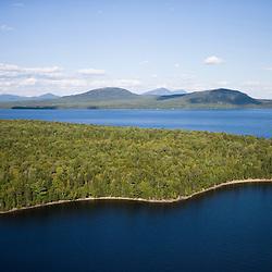Aerial view of Moosehead Lake Maine USA