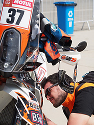 January 5, 2019 - Lima, Lima, Peru - KTM 37, Loic Minaudier from France, Nomade Racing team,  passing the technical scrutineering. The Dakar rally runs this year 100% in Peru. (Credit Image: © Carlos Garcia Granthon/ZUMA Wire)