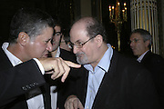 Peter Soros and Salman Rushdie, PARTY AFTER THE OPENING OF THE ANISH KAPOOR EXHIBITION AT THE LISSON GALLERY. Duchess Palace, 16 Mansfield St. London. W1. 10 October 2006. -DO NOT ARCHIVE-© Copyright Photograph by Dafydd Jones 66 Stockwell Park Rd. London SW9 0DA Tel 020 7733 0108 www.dafjones.com