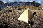 A tent at camp above Parika Lake, Never Summer Wilderness, Colorado. Mount Nimbus, Mount Stratus and Baker Mountain rise prominently in the background.
