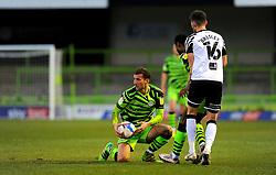 New Signing Baily Cargill of Forest Green Rovers is fouled by Shaun Brisley of Port Vale - Mandatory by-line: Nizaam Jones/JMP - 16/01/2021 - FOOTBALL - innocent New Lawn Stadium - Nailsworth, England - Forest Green Rovers v Port Vale - Sky Bet League Two