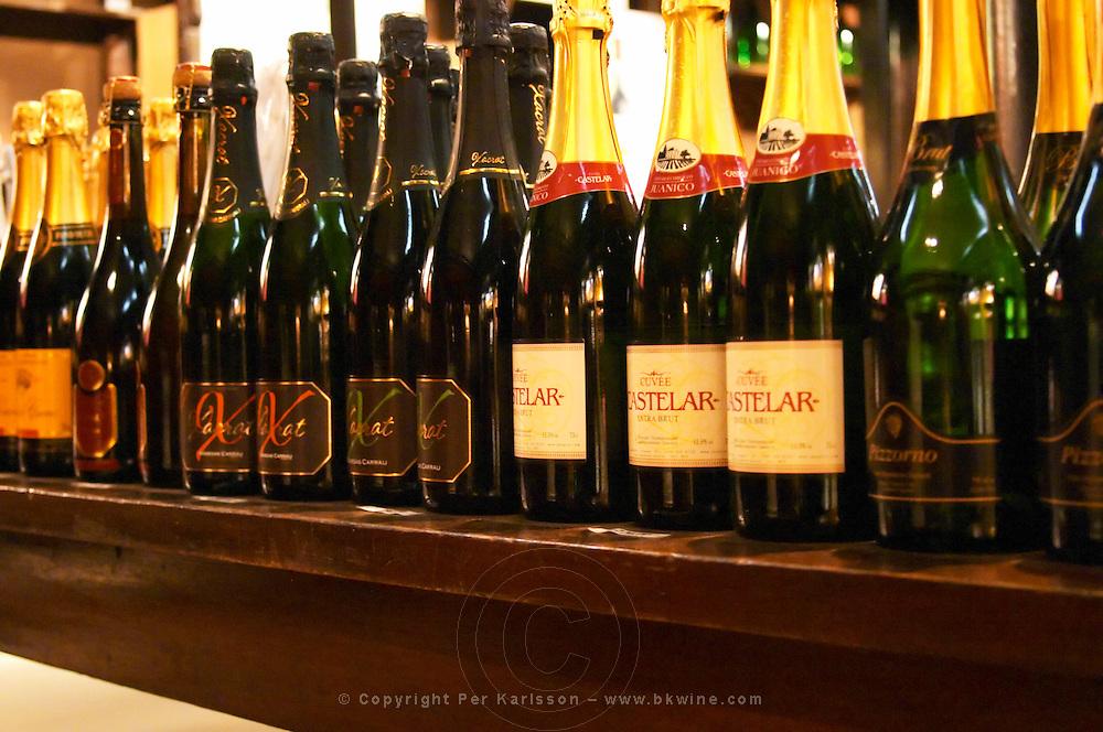 A selection of Uruguayan sparkling wine: Pizzorno, Castelar and others. Montevideo, Uruguay, South America Uruguay wine production institute Instituto Nacional de Vitivinicultura INAVI