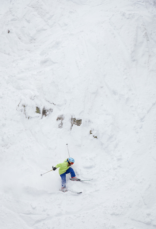 A young skier finds herself over her head on Sheer Rock O' during the last day of the ski season at Monarch Mountain.
