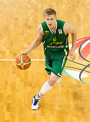 Zygimantas Skucas of Lithuania during basketball match between National teams of Slovenia and Lithuania in Preliminary Round of U20 Men European Championship Slovenia 2012, on July 14, 2012 in Domzale, Slovenia. Slovenia defeated Lithuania 87-81. (Photo by Vid Ponikvar / Sportida.com)